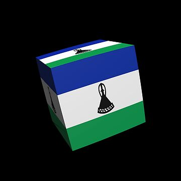 Lesotho flag cubed by stuwdamdorp