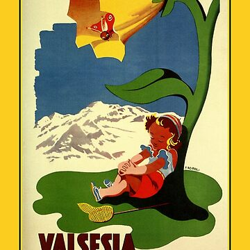 Valsesia children appealing vintage Italian travel ad  by aapshop