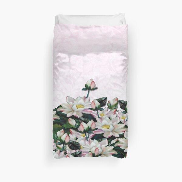 Pink Waterlilies Brocade Print Duvet Cover