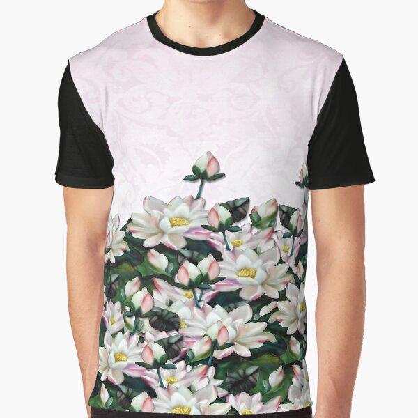 Pink Waterlilies Brocade Print Graphic T-Shirt