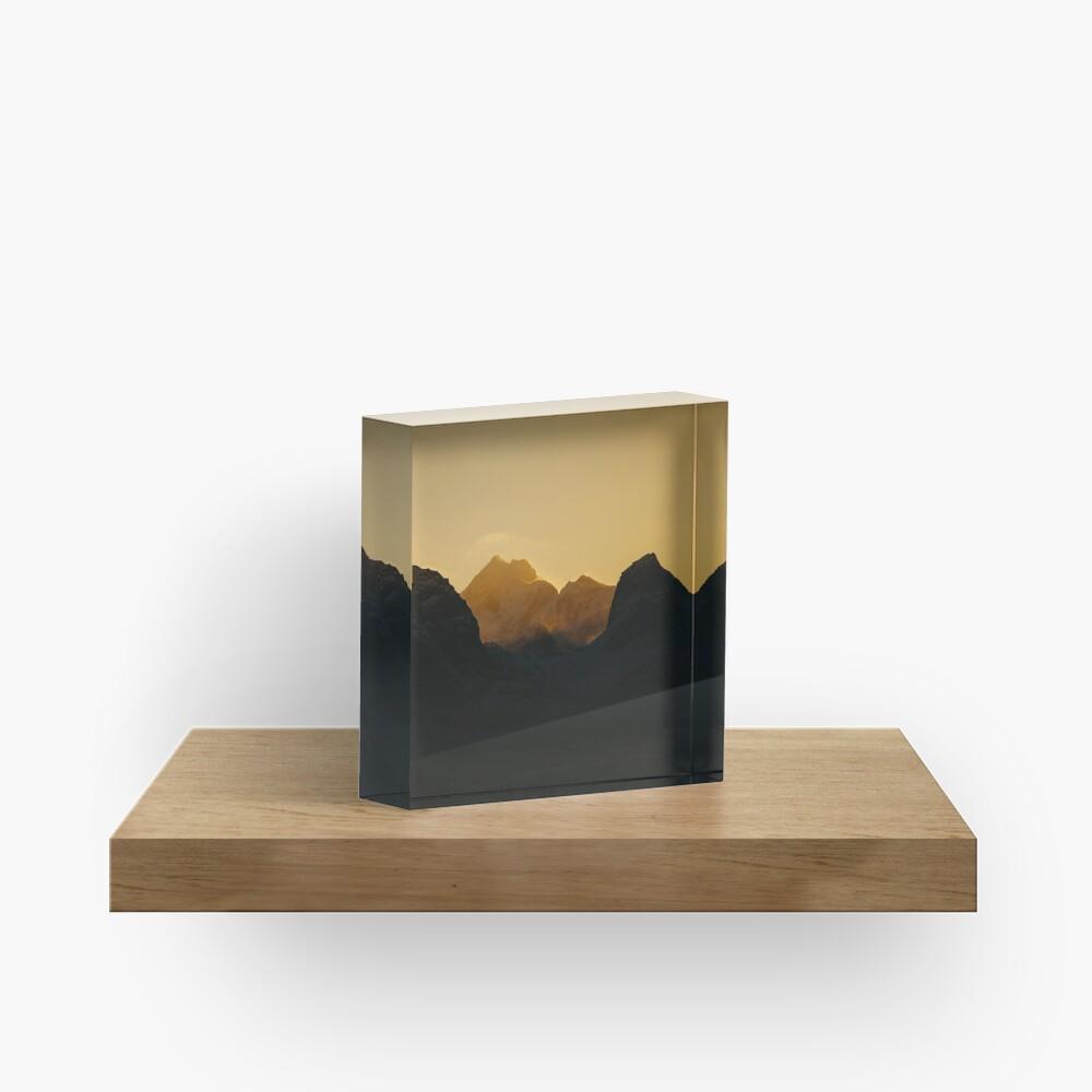 Bloc acrylique «Coucher de soleil sur les Îles Lofoten en Norvège»