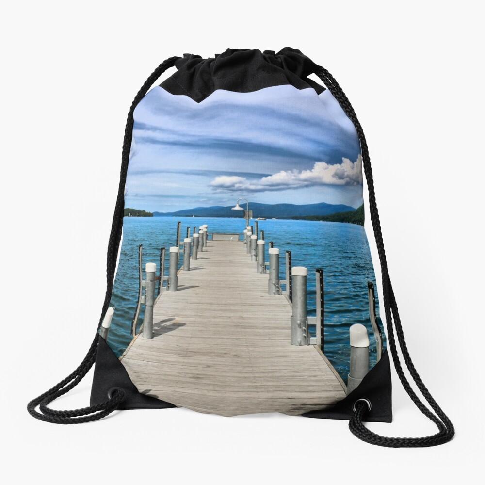 Stepping to the Sea Drawstring Bag