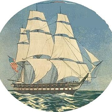 Three Masted Sailing Ship Man O War Sticker by henrytheartist