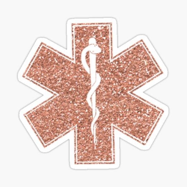 Faux Glitter Rose Gold EMT Star of Life EMS Sticker Sticker
