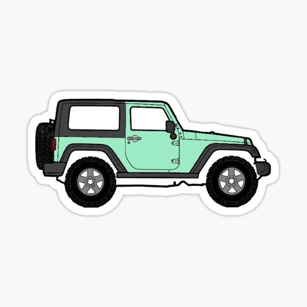 Mint green jeep Sticker