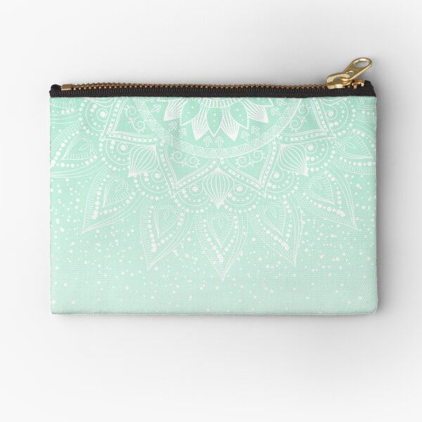 Elegant white and mint mandala confetti design Zipper Pouch