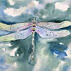 Dragonfly whimsical watercolor painting by Sandra Connelly