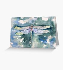Dragonfly whimsical watercolor painting Greeting Card