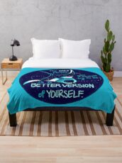 """""""The Only Person You Should Try to Be"""" Galaxy Manta Ray Throw Blanket"""
