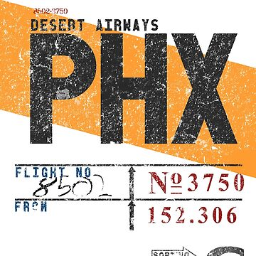 PHX Phoenix Sky Harbor Int'l Airport Vintage Airline Tag Tee by RealPilotDesign