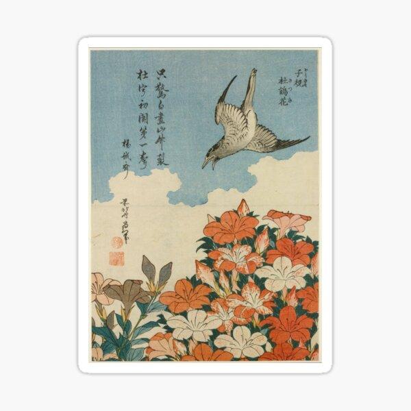 Hokusai (1828) Cuckoo and Azaleas Sticker