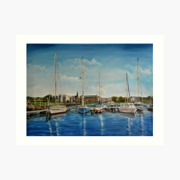 """""""View of Kilrush from the Marina"""" - oil painting Art Print"""