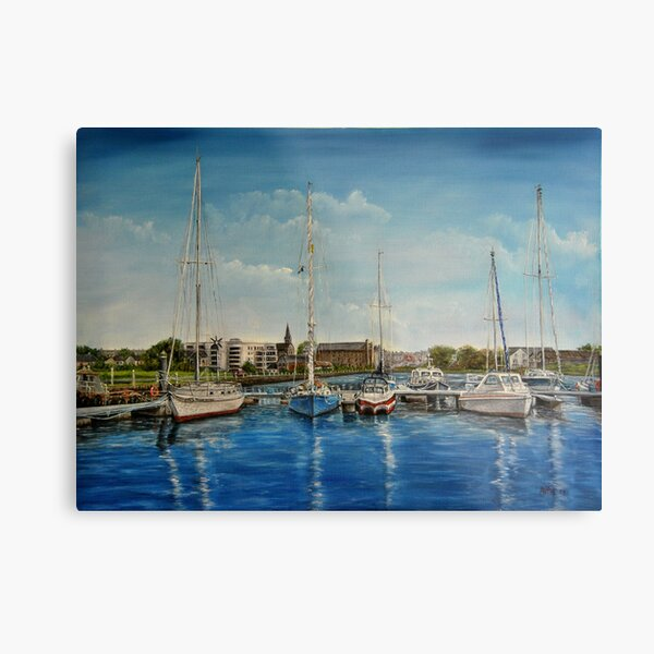 """""""View of Kilrush from the Marina"""" - oil painting Metal Print"""