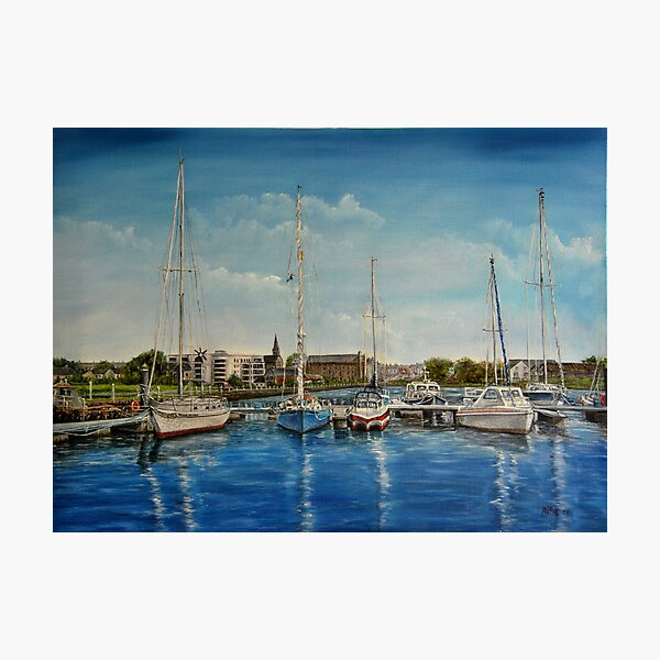 """View of Kilrush from the Marina"" - oil painting Photographic Print"