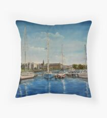 """""""View of Kilrush from the Marina"""" - oil painting Throw Pillow"""