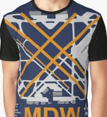 MDW Chicago Midway Airport Layout Art Graphic T-Shirt