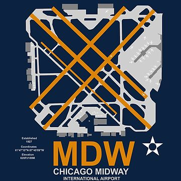MDW Chicago Midway Airport Layout Art by RealPilotDesign