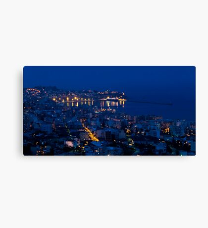 Kavala by night. Canvas Print