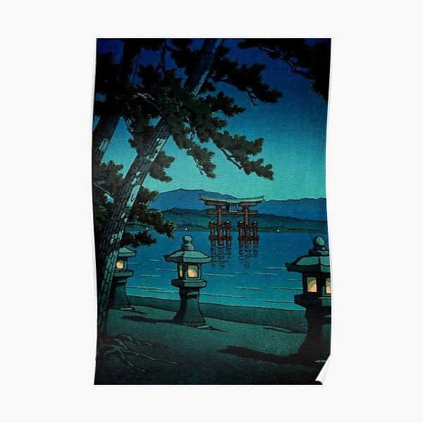 Japanese Moonlit Night Gate Sea Hasui Kawase Poster