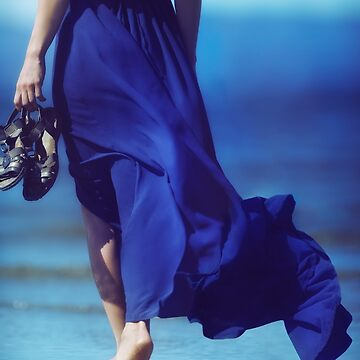 Woman in blue summer dress blowing in the wind walking barefoot on ocean beach sand art photo print by AwenArtPrints