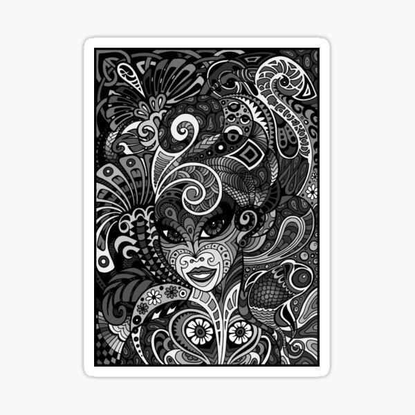 Dame Doodle v3 (grey) Sticker
