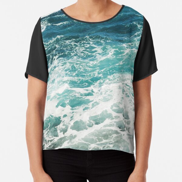 Blue Ocean Waves  Chiffon Top