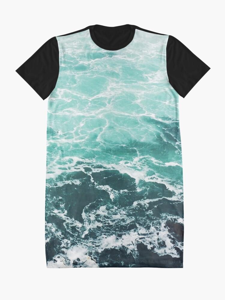 Alternate view of Blue Ocean Summer Beach Waves Graphic T-Shirt Dress
