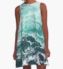Blue Ocean Summer Beach Waves A-Line Dress