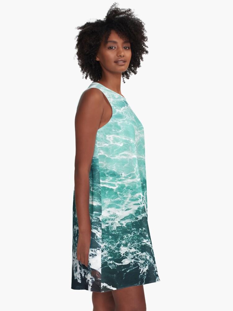 Alternate view of Blue Ocean Summer Beach Waves A-Line Dress