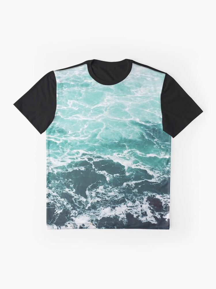 Alternative Ansicht von Blauer Ozean Sommer Strand Wellen Grafik T-Shirt