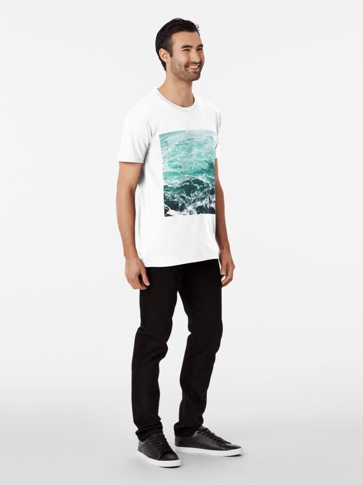 Alternate view of Blue Ocean Summer Beach Waves Premium T-Shirt