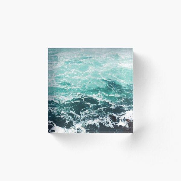 Blue Ocean Summer Beach Waves Acrylic Block