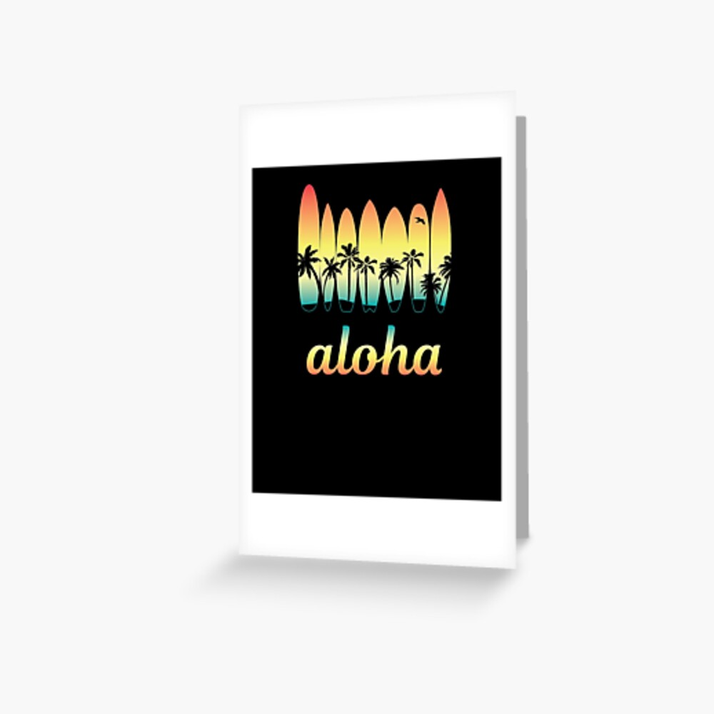 Aloha Surfing Good Vibes Greeting Card