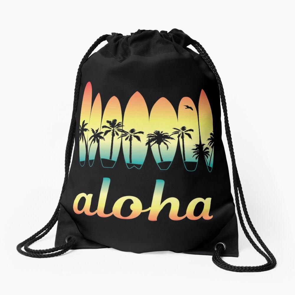 Aloha Surfing Good Vibes Drawstring Bag