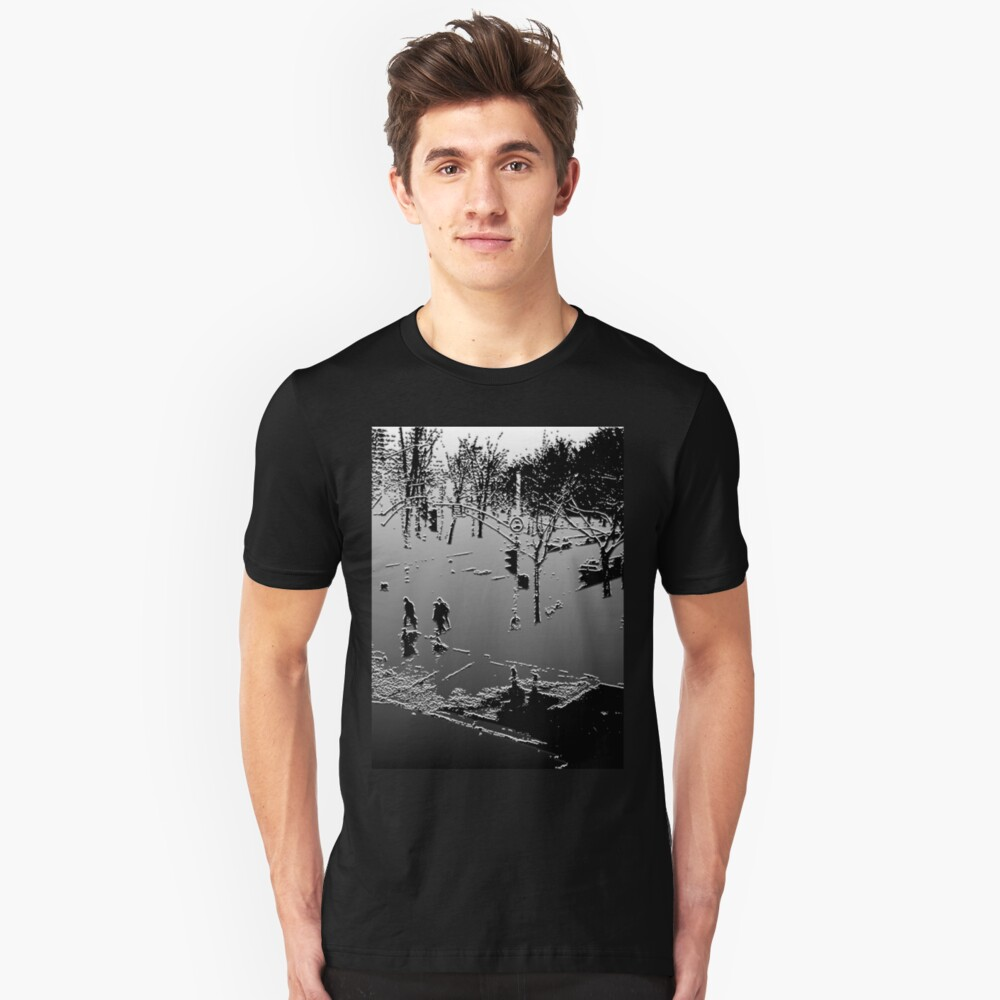 Against the cold Black and White Unisex T-Shirt Front