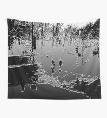 Against the cold Black and White Wall Tapestry