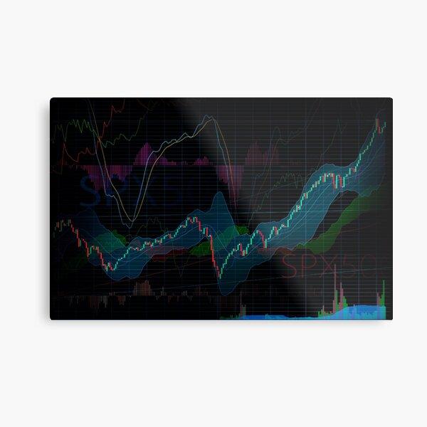 Stock market SPX500 trading chart display indicators concept art print Metal Print