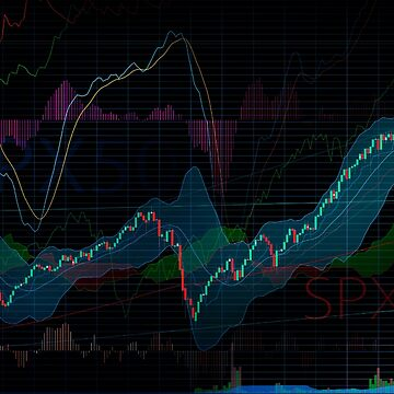 Stock market SPX500 trading chart display indicators concept art print by AwenArtPrints