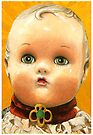 Antique Doll Head - painting by LindaAppleArt