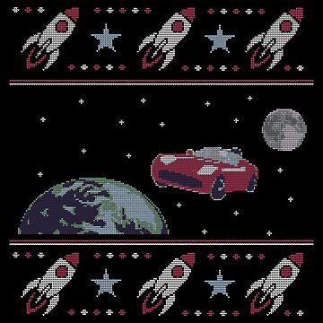 Red Car with Astronaut in Space - Sweater by radvas
