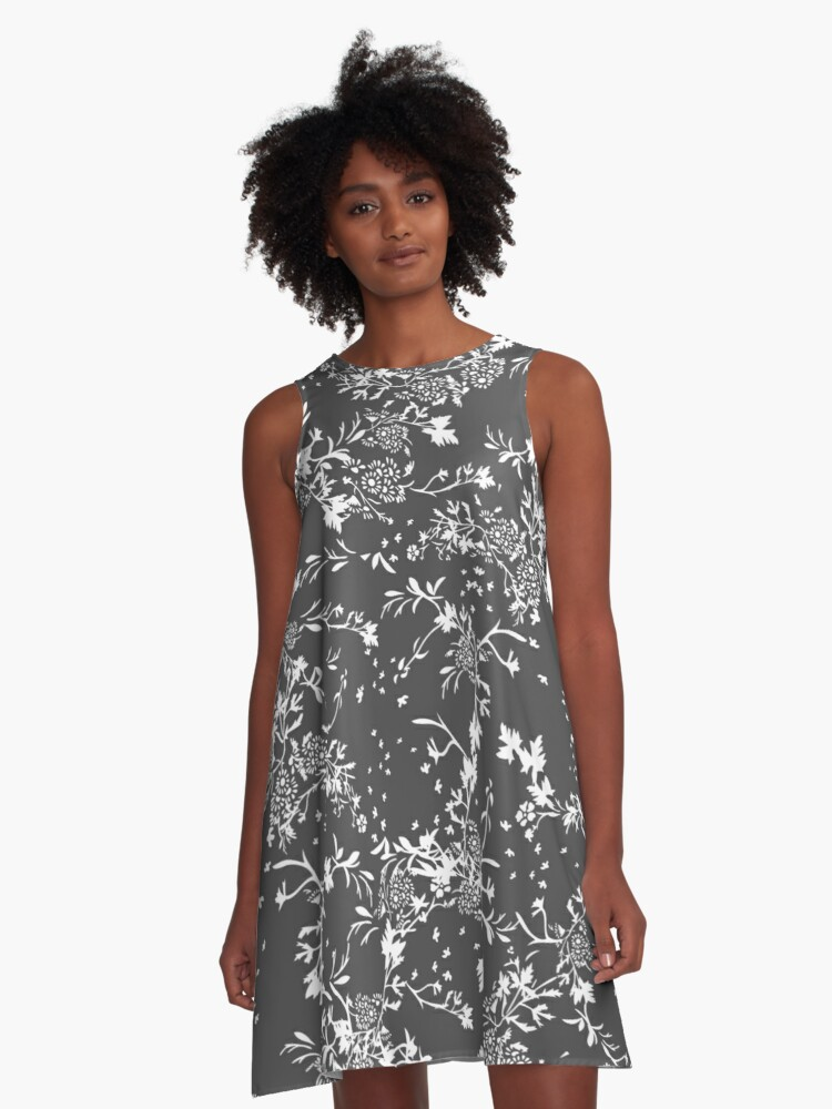 Tender White Flowers A-Line Dress Front