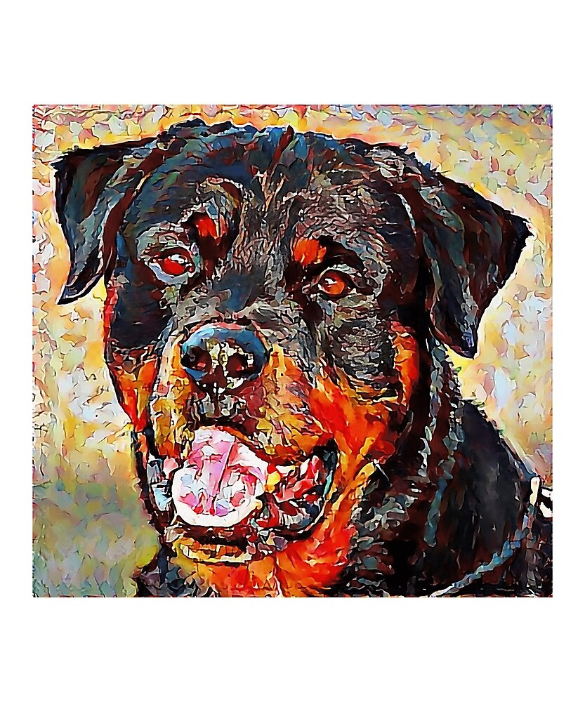 Rottweiler - A Portrait in Oil by Chunga