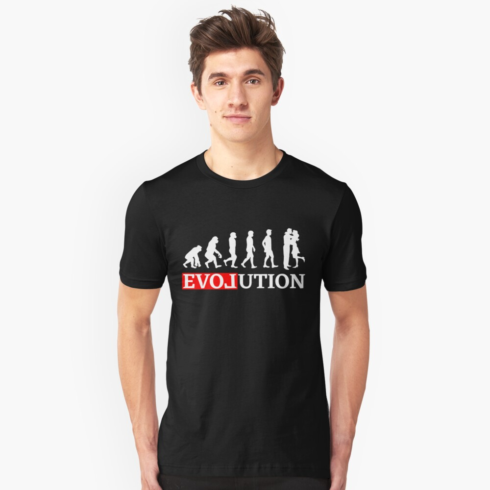 Evolution with love and kiss Women t-shirt Unisex T-Shirt Front