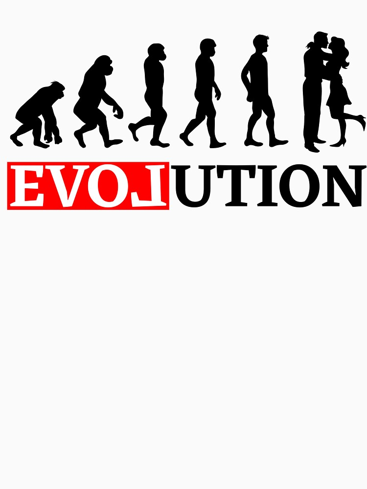 Evolution with love and kiss Women t-shirt by peter2art