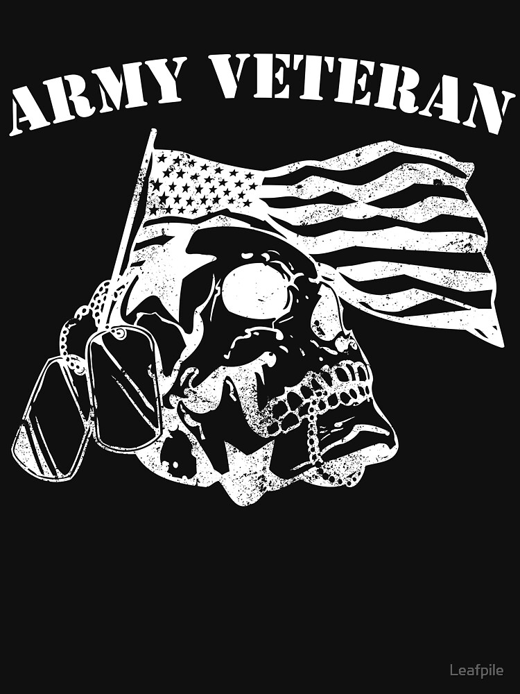 Army veteran skull skeleton design dog tags by Leafpile