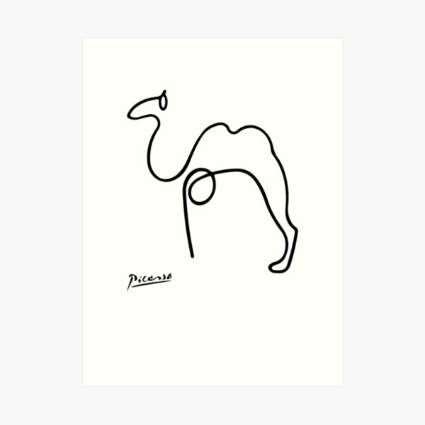Pablo Picasso Camel Artwork T Shirt, Reproduction Sketch Art Print