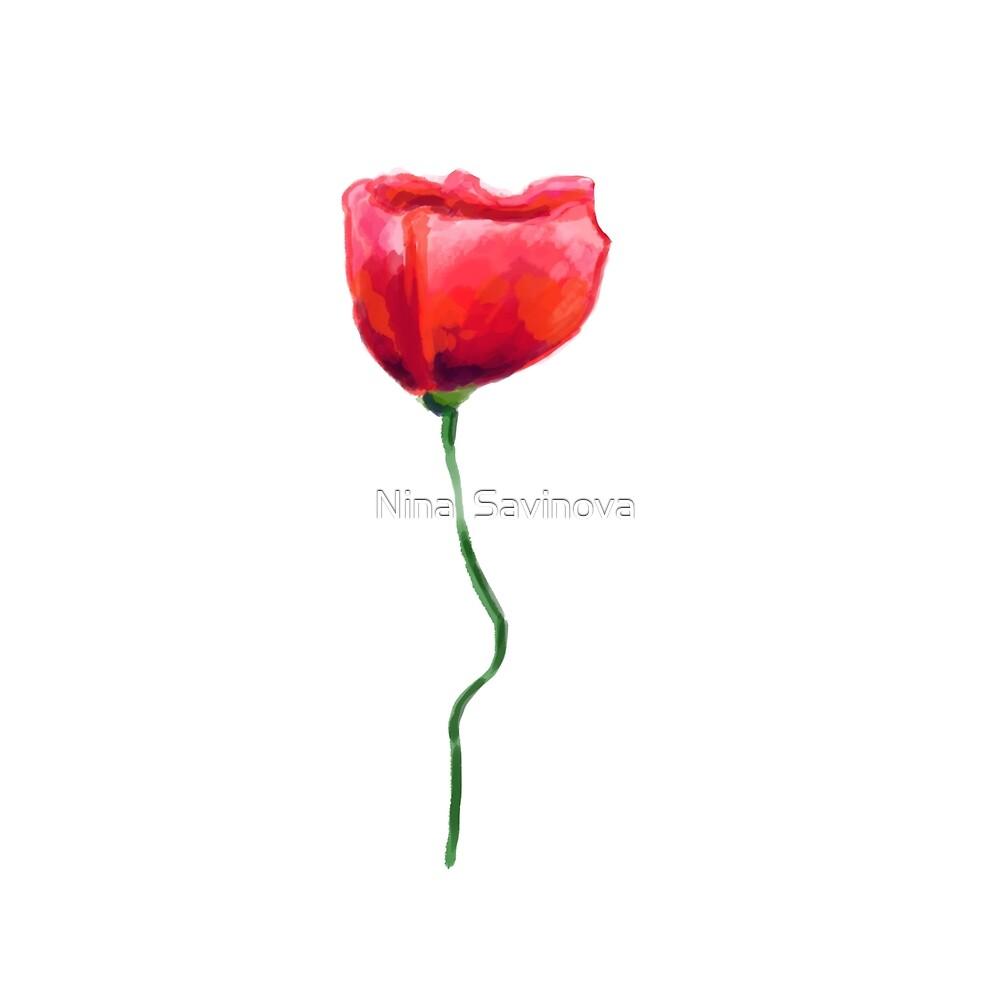 Beautiful hand drawn garden poppy flower design  by Nina  Savinova