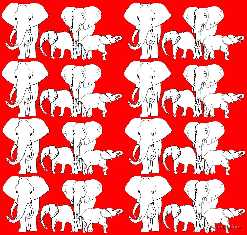 African Elephant Family by AkuaDesigns
