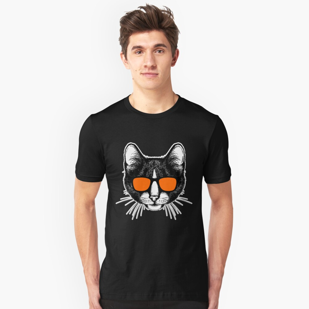 Cat with sunglasses cats Unisex T-Shirt Front