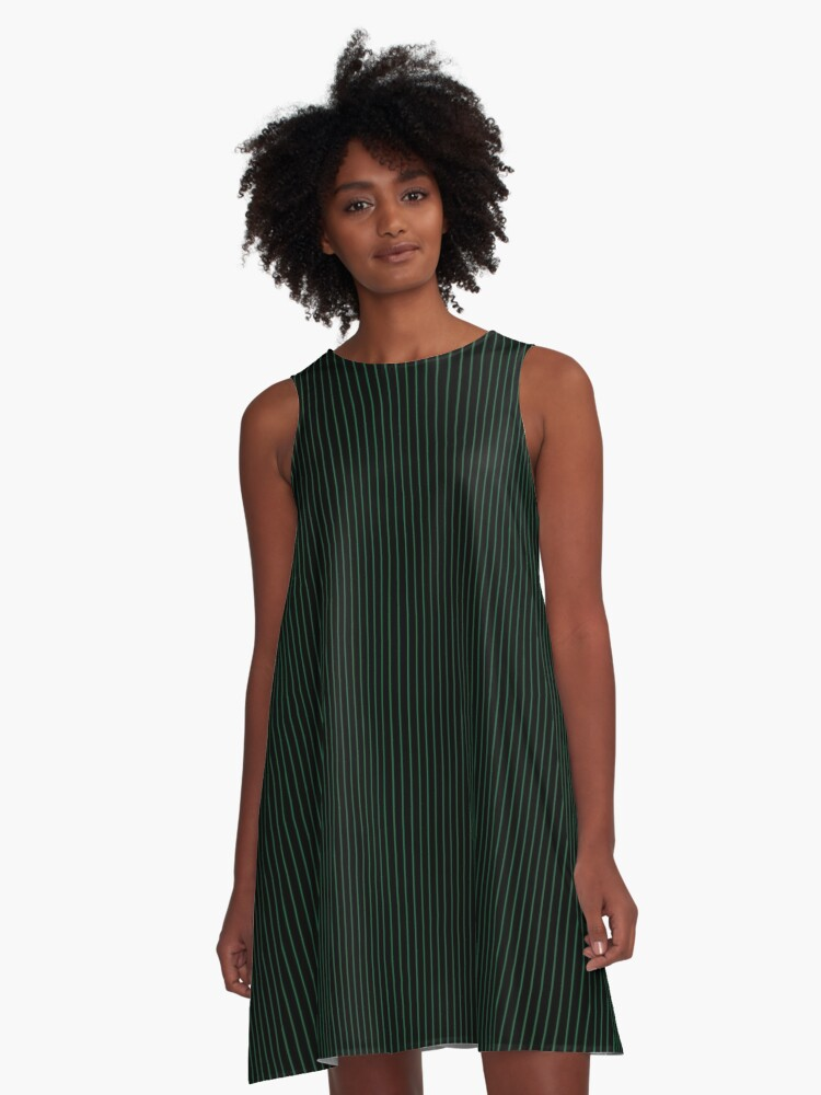 Black with Dark Green pinstripes A-Line Dress Front